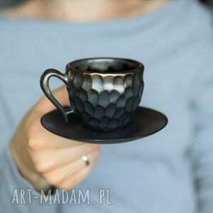 filiżanka ceramiczna espresso czerń i złoto 75ml, filiżanka