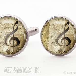 klucz wiolinowy - spinki do mankietów egginegg, muzyczne, koszuli