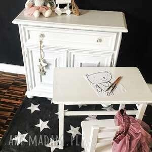 stolik i krzesełko - komplet mebelków białe meble dziecięce, stolik