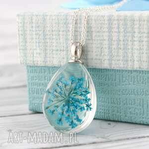 prezent świąteczny Wisiorek z suszonym niebieskim kwiatem, natura, suszone-kwiaty