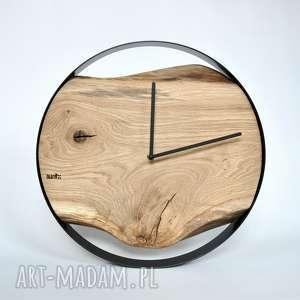 zegar loft - dębowy - czarna obręcz - 40 cm - zegar, drewniany, dębowy