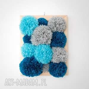 Niebieski prostokąt, dekoracja, wnętrze, dziecięcy, pompon, obraz, obrazek