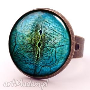 oko jaszczura - pierścionek regulowany egginegg - niebieskie, biżuteria
