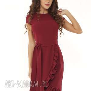 Elegancka sukienka falbaną i paskiem bordowa, elegancka-sukienka, koktajlowa-sukienka