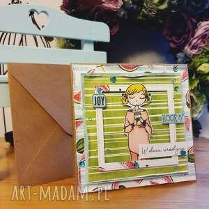 kartka - arbuzowe urodziny, stempel, dziewczynka, kartka, życzenia