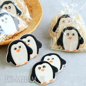 Pomysł na prezent. Zestaw 4 pingwinków - magnesy ceramika