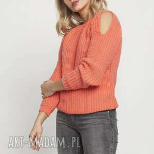swetry raglanowy sweter, swe176 coralpink mkm, raglanowy, jesień