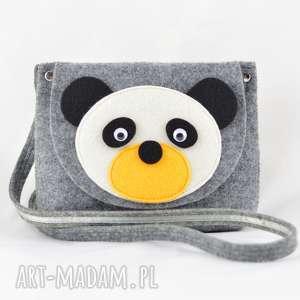 ręczne wykonanie torebka dziecięca - miś panda na szarym
