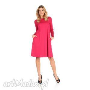 2-sukienka rozkloszowana fuksja,długa, lalu, sukienka, dzianina, kieszenie