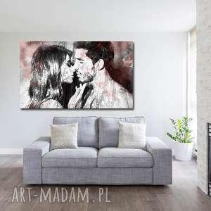 obraz xxl para 4 - 120x70cm design na płótnie pocałunek, para, pocałunke, kobieta