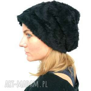 czapki czapka damska czarna futrzana niski włos, futro, czarne, etno