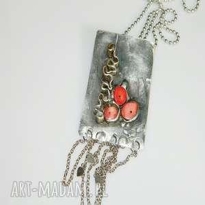 mosiężny prostokąt, mosiądz, wisior, unikatowa-biżuteria, unikatowe-serce, koral