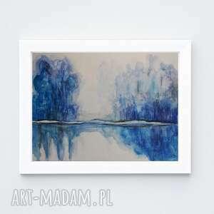 niebieskie drzewa-akwarela formatu