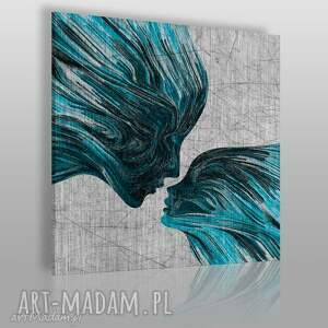 obraz na płótnie - twarze pocałunek turkus w kwadracie 80x80 cm 13510
