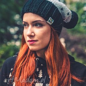 hold me tight ekskluzywna czerń - jesień, czapka, zima, handmade, włóczka