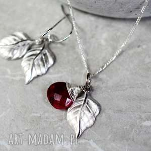 925 KOMPLET Granat ć łańcuszek uteria,liść,liście,natura,prezent,