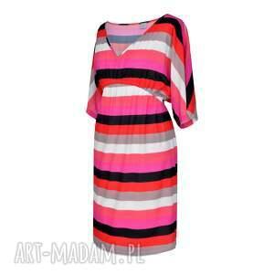 sukienka letnia cinture colore - kolory, pasy, zwiewna, letnia, dekolt