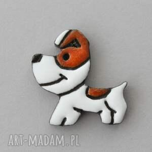 reksik - broszka ceramiczna pies, minimalizm design kreskówka, prezent praca