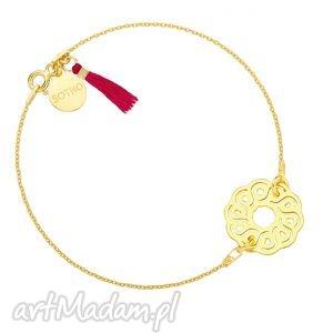bransoletki złota bransoletka z arabską rozetką chwostem w kolorze fuksji