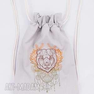 plecak worek z niedźwiedźiem - ,folk,niedźwiedź,plecak,worek,las,góry,