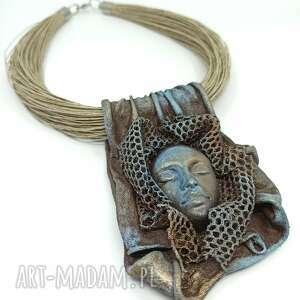 NorArt, kobiecy artystyczny naszyjnik lniany, len, wisior zawieszka, prezent, prezent pod
