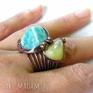pierścionek: z amazonitem i jadeitem