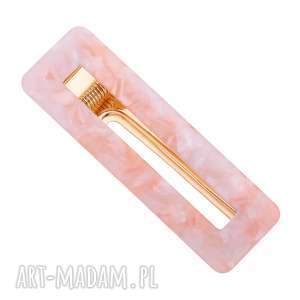 prostokątna spinka z różowej żywicy sotho - żywica