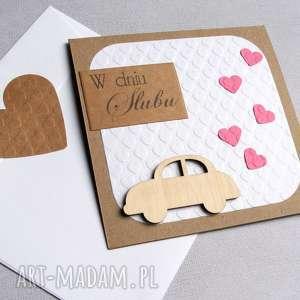 kartka ślubna brum i white pink, ślub, auto kartki