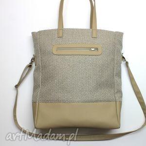 shopper bag - tkanina w jodełkę i skóra cappuccino, elegancka, nowoczesna