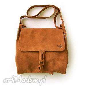 surowa baronowa ruda zamszowa, zamsz, rudy, lisi, skóra, pojemna, pętelka torebki