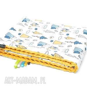 handmade dla dziecka kocyk kołderka 75x100 minky bawełna las / musztardowy