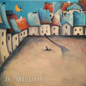 bajkowe miasteczko-obraz akrylowy formatu 40/50 cm, miasteczko, domki, koty