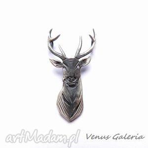 Wisiorek srebrny - Jeleń szary, biżuteria, srebro, wisiorek
