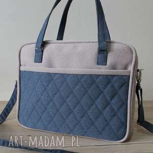 torba miejska - tkanina beż i granat, elegancka, nowoczesna, pakowna, prezent