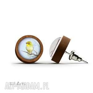 kolczyki drewniane - żółty ptaszek sztyfty, kolczyki