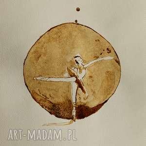 obrazy tancerka kropli kawy - obraz kawą malowany, kawa, balet, balerina, taniec
