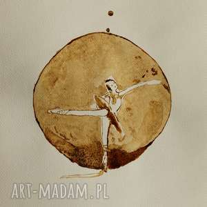 tancerka kropli kawy - obraz kawą malowany, taniec, balet, kawa