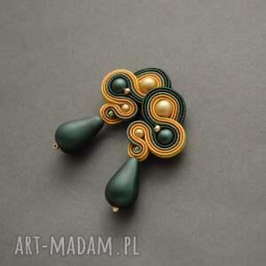 zielono-żółte klipsy sutasz, sznurek, wyjściowe, szmaragdowe, eleganckie