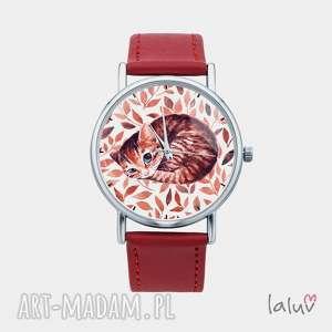 unikalny prezent, zegarek z grafiką kot, kociak, słodki, puszysty, kolorowy