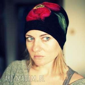 czapka wełniana damska czarna , czapka, wełna, etno, ciepła, kwiaty, zima