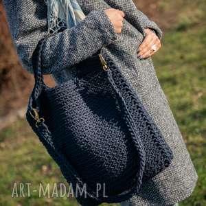 na ramię torba - granat w dłoni, sznurek, szydełko, rękodzieło, zakupy, bawełniany