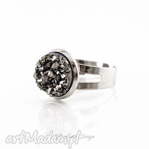 Prezent Pierścionek grafitowy druzy, pierścionek, świecący, regulowany