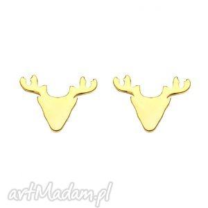 sotho złote kolczyki jelenie - złoto, jeleń, sztyfty