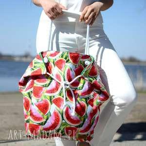 duża torba na ramię i plażę w arbuzy kolorowa, torba, torebka