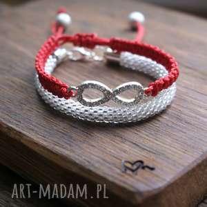 infinity red set, kryształowa, infinity, bransoletki, zestaw, makrama, koralikowa
