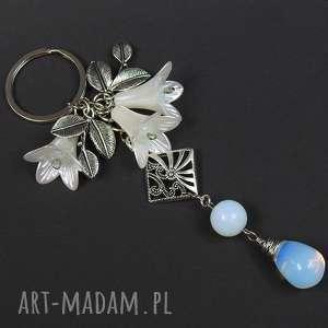 Brelok do kluczy, torebki kamień OPAL kwiaty /0039, brelok, opal, kwiaty, liście