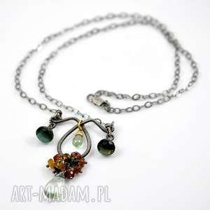 zielenie - naszyjnik srebrny z topazem, minerały, oksydowany, ekskluzywny, kobiecy
