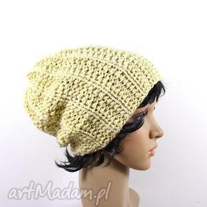 czapka waniliowa, czapka, zima, głowa, mróz, dziergana