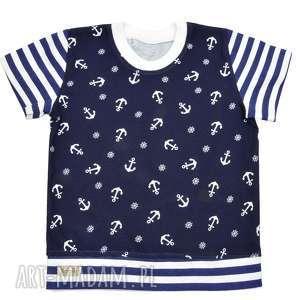 KOTWICE marynarska bluzka dla chłopca, dziewczynki, granatowy t-shirt, rozmiary