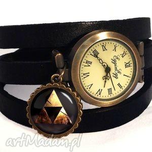 zelda triforce - zegarek bransoletka na skórzanym pasku - zawieszką